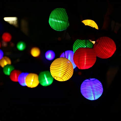white and colored christmas lights lantern solar string lights outdoor globe lights 30led