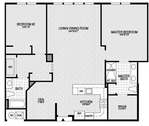 bedroom  bath  den floor plan