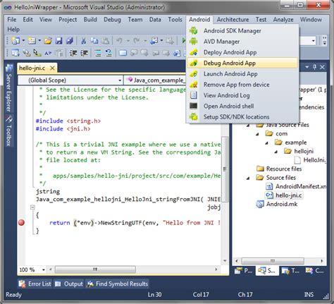 android studio debugging tutorial co debugging hello jni with eclipse and visual studio