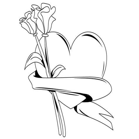 imagenes de rosas y corazones para dibujar a lapiz corazon para dibujar y colorear