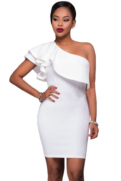 Dress Midi Mini Gaun Spandek Set Cardigan Polos Resmi Formal Kerja us 5 64 white asymmetric ruffled neckline bodycon mini dress dropshipping