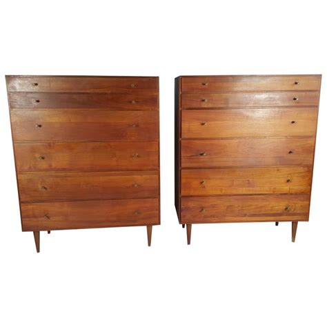 pair of walnut mid century pair of mid century modern solid walnut 6 drawer chests dressers at 1stdibs