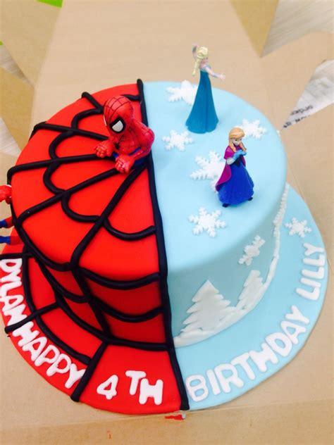 frozen  spiderman cake    year  twins cake twin birthday cakes twins cake