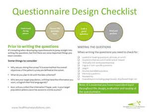 questionnaire design checklist health survey solutions