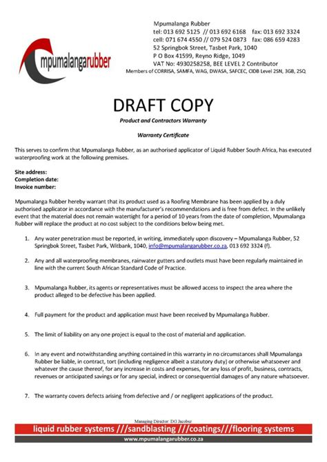 Guarantee Letter Draft Waterproofing Warranty Waterproofing Specialists