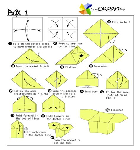 How To Fold A Origami Box - origami box diagram origami free engine image for