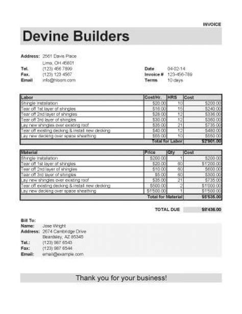 invoice template materials labor hardhost info