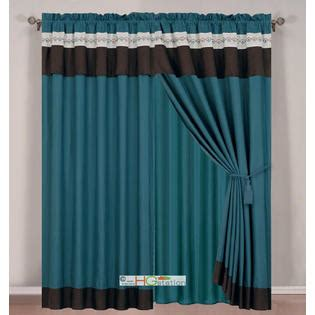 Brown And Ivory Curtains Hg Station 4 Pc Floral Damask Embroidery Curtain Set Teal Blue Green Brown Ivory Drape Valance Liner