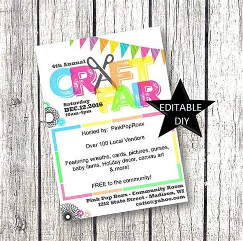Craft Fair Flyer Invitation Diy Editable Customizable And Printable Template For Your Event Or Craft Fair Flyer Template