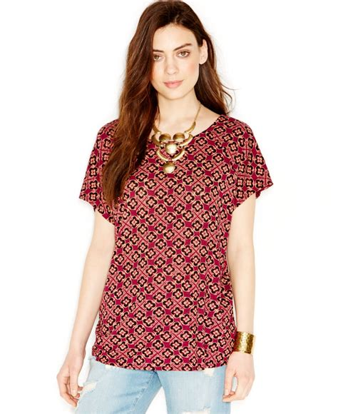 Blouse Branded Mb Brocade Purple lyst lucky brand lucky brand printed cross back blouse in purple