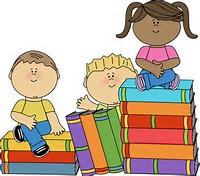 Kids and Books Clip Art