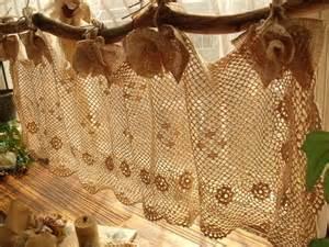 Cream Burlap Curtains Antique Tea Stained Crochet Window Valance Burlap Bows