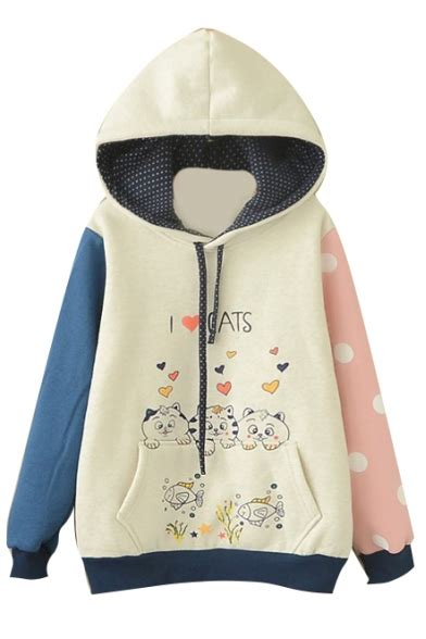Sleeve Color Block Hooded Top hooded sleeve color block print sweatshirt