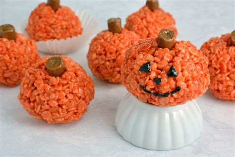 pumpkin treats peanut butter rice krispie treat pumpkins savory experiments