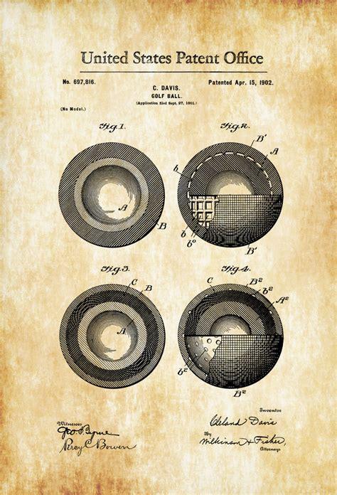 retro golf prints golf decor set of 4 prints golf decor idea golf ball patent 1902 patent print wall decor golf art