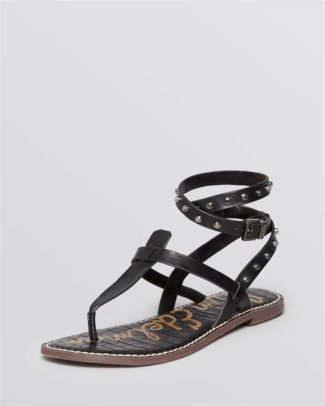 gladiator sandals black lyst sam edelman flat gladiator sandals gabriela
