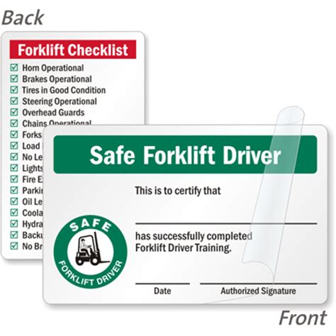 wallet size certification card template forklift certification cards forklift driver wallet cards