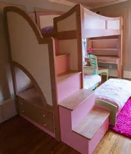 Handmade girl s twin loft bunk bed with stairs futon and desk