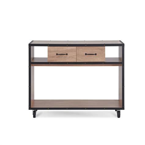 mobile console acme furniture bemis weathered light oak mobile console