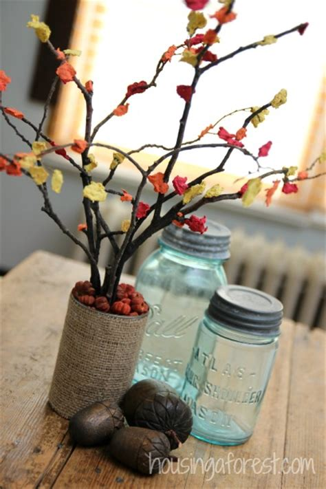 fall centerpiece craft for housing a forest