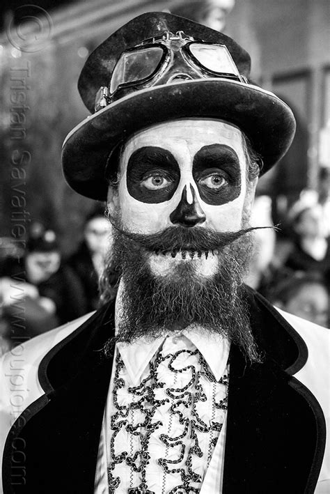 s sugar skull makeup with beard 4k wallpapers