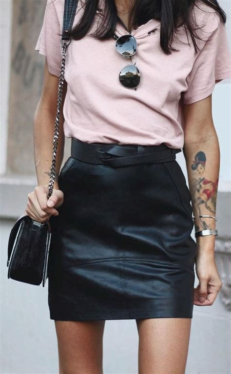 mini leather skirt pink summer style s