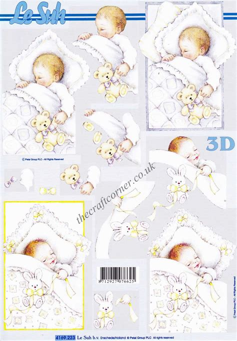 le suh decoupage a sleeping baby 3d decoupage sheet from le suh