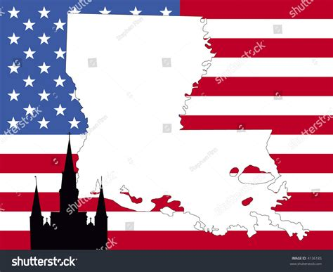 louisiana map flag map of louisiana on american flag with st louis cathedral