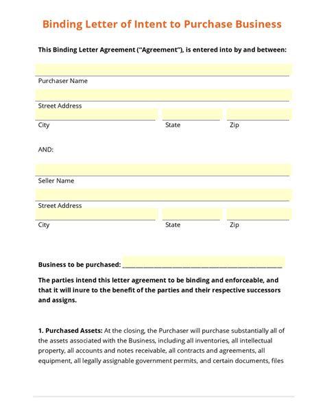 Letter Of Intent To Purchase Form Business Form Template Gallery