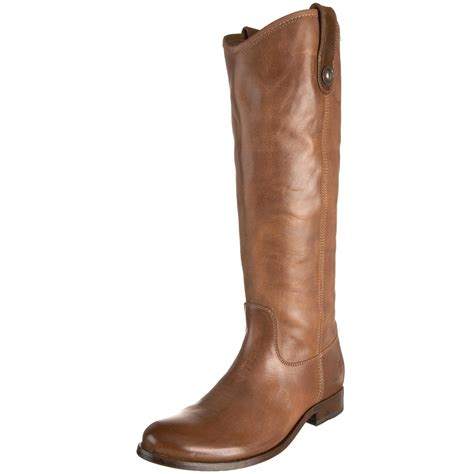 frye womens button knee high boot in brown light