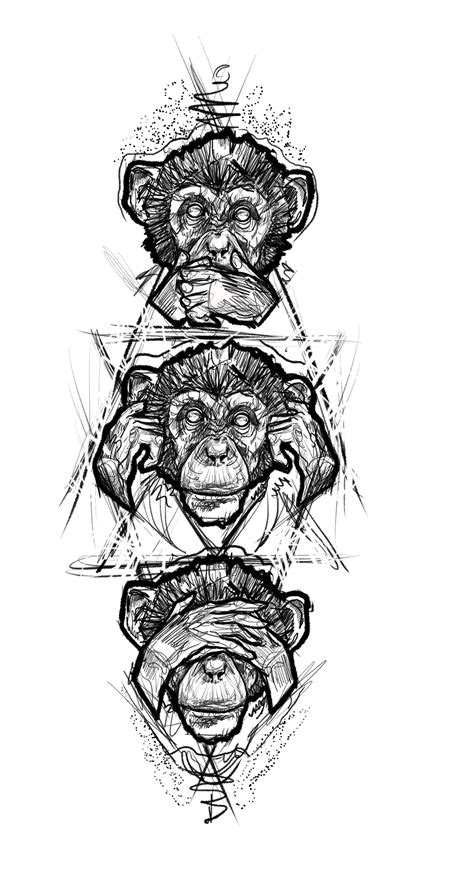 monkey tattoo design three monkey design sketch designs