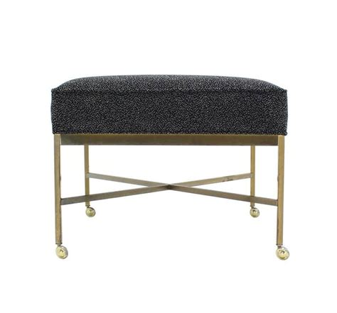 Large Solid Brass X Base Ottoman New Upholstery For Sale X Base Ottoman