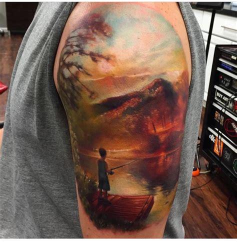 tattoo realism fishing kid realistic tattoo best tattoo ideas gallery