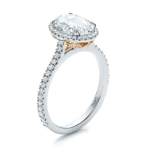 custom two tone halo engagement ring 100572