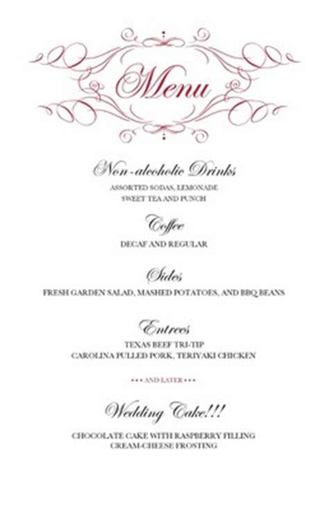 layout for wedding menu diy dinner menu weddings do it yourself wedding