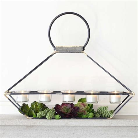 rustic metal tea light candle holder with five votives