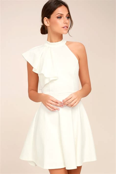 One Shoulder Dress Black White white dress skater dress one shoulder dress