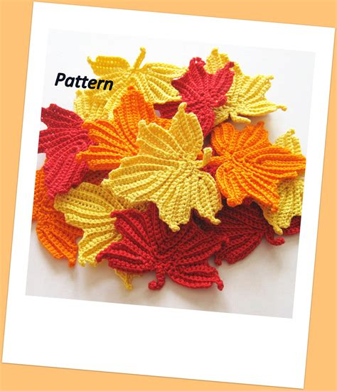etsy leaf pattern maple leaves crochet pattern by goldenlucycrafts on etsy