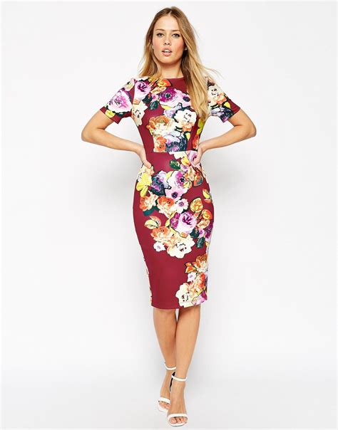New Jfashion Dress Scuba Printing Hitam Hgb asos floral print scuba bodycon dress in lyst
