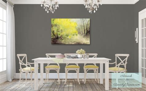 shabby chic gray dining room with yellow forsythia canvas art shabby chic style dining room