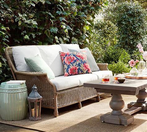 pottery barn indoor outdoor sofa garden botanical indoor outdoor pillow blue pottery barn