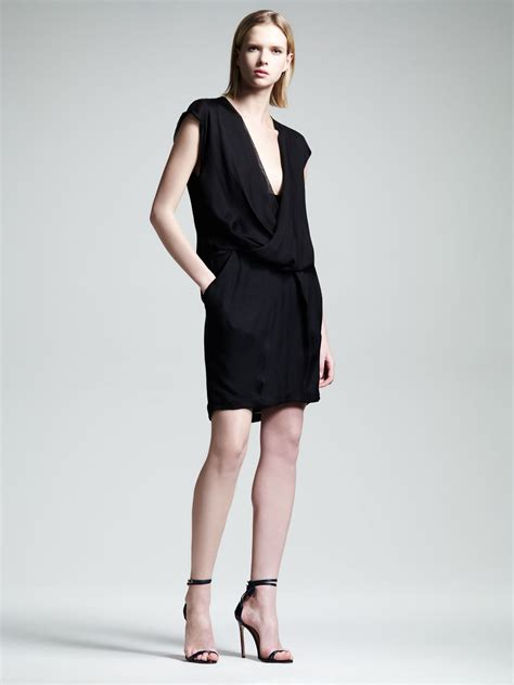alexander wang draped dress alexander wang womens draped pocket dress in black lyst