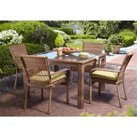 wicker patio dining set martha stewart living charlottetown brown 5 all weather wicker patio dining set with green
