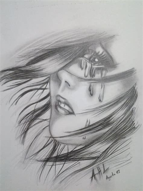 imagenes a lapiz tristes mujer triste por abelardo dibujando