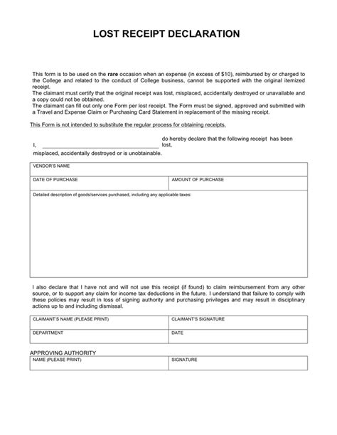 Missing Receipt Form Template Word by Lost Receipt Declaration Form For College In Word And Pdf