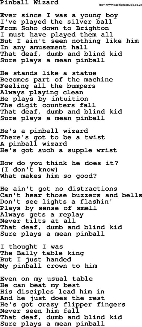 pinball wizard by the byrds lyrics with pdf