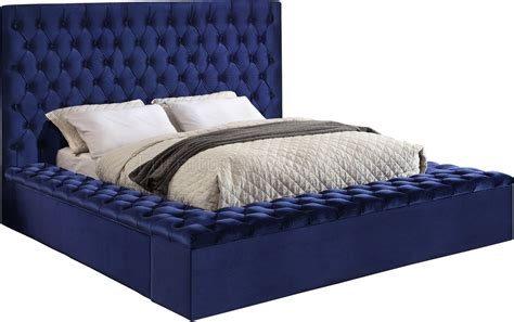 bliss bed  navy velvet fabric  meridian woptions