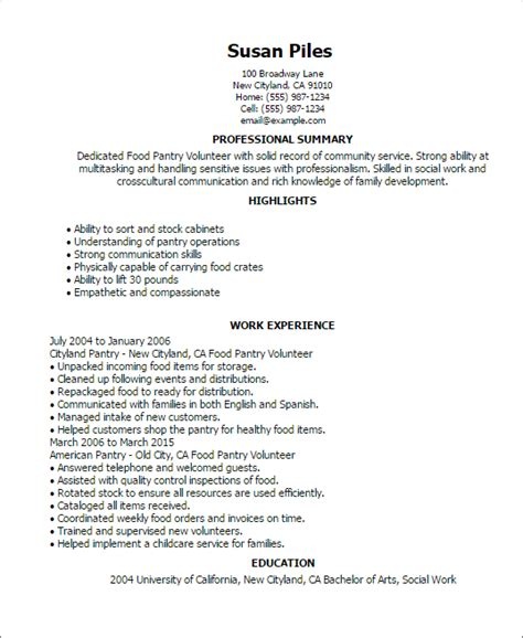 Volunteer Resume by Food Pantry Volunteer Resume Template Best Design Tips