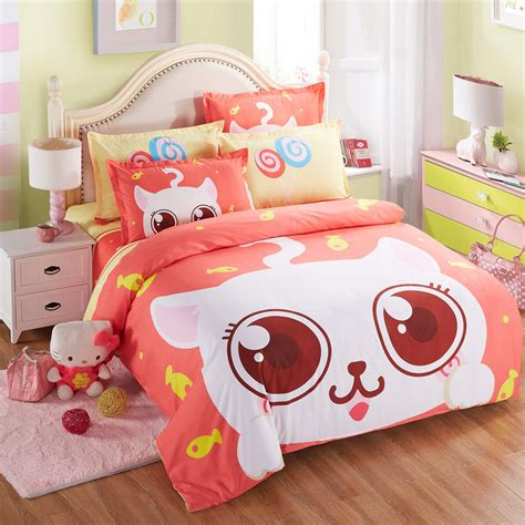 kawaii bed home textile kawaii cotton bedding set cartoon orange