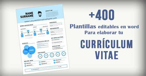 Plantilla De Curriculum Vitae Gratis Word 400 Plantillas Editables En Word Para Elaborar Tu Curr 237 Culum Vitae